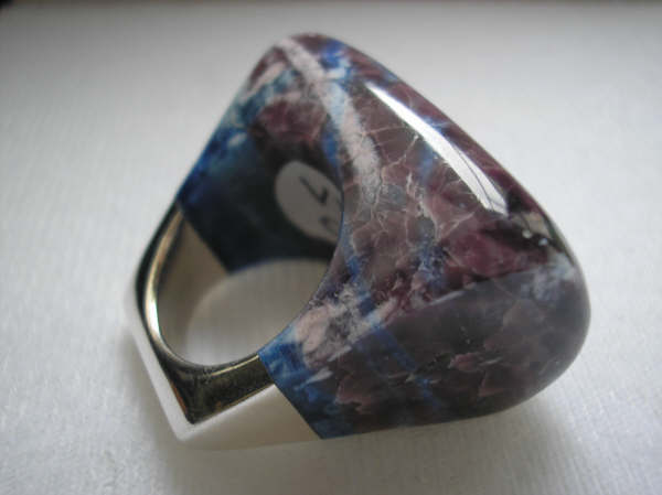 volcanic tectite stone, hand made ring